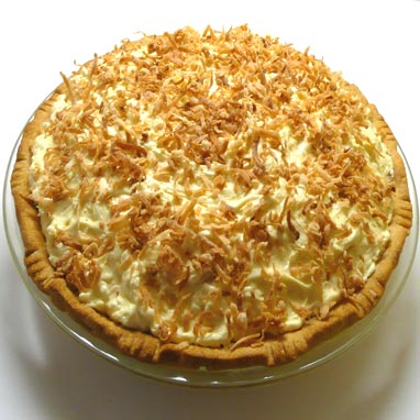 coconut cream pie with a pecan praline surprise in the bottom.